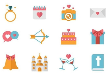 Free Wedding Icons Vector. - Free vector #374305