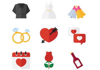 Wedding Flat Icon - vector #374345 gratis
