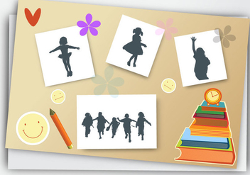 Yearbook for School with pencils book vector - vector gratuit #374375