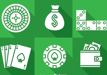 Casino Long Shaow Icons - vector gratuit #374405