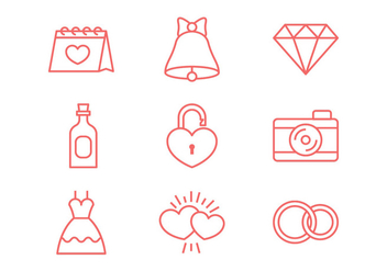 Wedding Line Icon - vector gratuit #374445