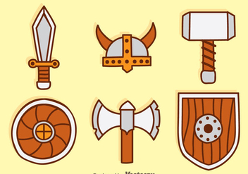 Barbarian Element Cartoon Icons - vector gratuit #374515