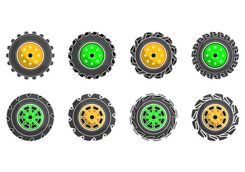 Free Colorful Tractor Tire Icon Vector - Free vector #374615
