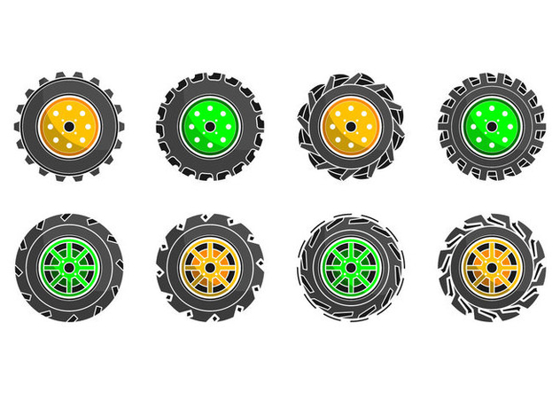 Free Colorful Tractor Tire Icon Vector - Kostenloses vector #374615