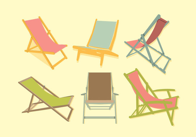 Colorful Deck Chair Vector - Free vector #374675