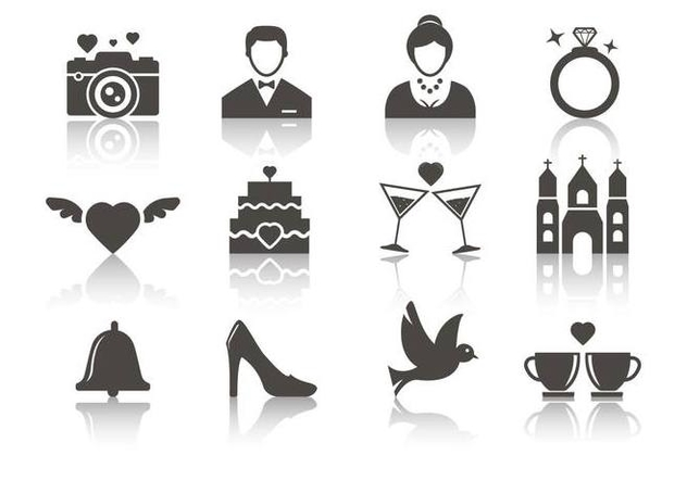 Free Wedding Icons Vector - Free vector #374695