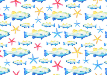 Free Vector Watercolor Bass Fish Background - Free vector #375085