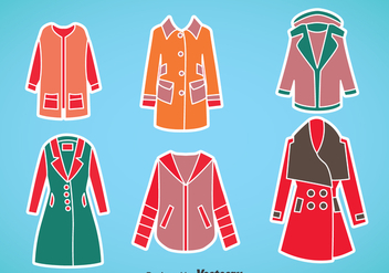 Woman Winter Coat Vector Set - бесплатный vector #375305