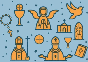Eucharist Vintage Icon - бесплатный vector #375605