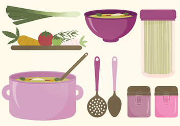 Kitchen Elements Vector Set - Free vector #375835