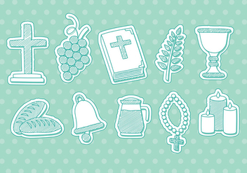 Drawn Eucharist Vector Icons - Free vector #375995