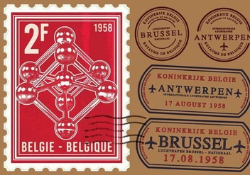 Atomium Brussel Stamp - Free vector #376065