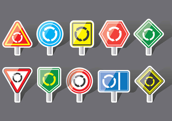 Roundabout sign icons - Free vector #376275