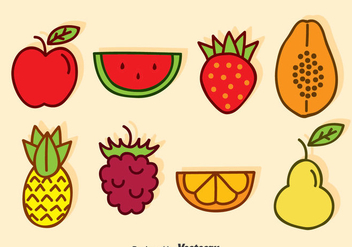 Cartoon Fruits Vector - vector gratuit #376295
