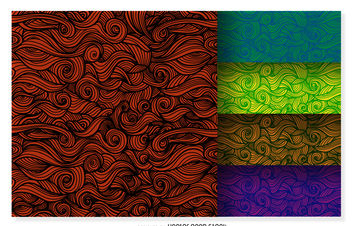 Colorful curly ornamental background set - vector gratuit #376475