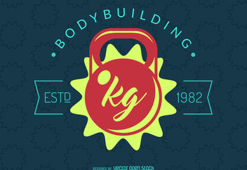 Bodybuilding kettlebell label - Free vector #376545