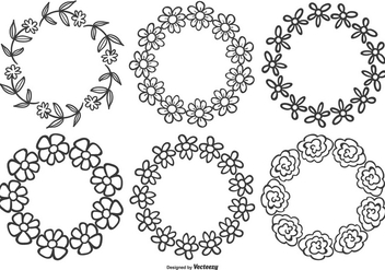 Cute Hand Drawn Flower Frames - Free vector #376585
