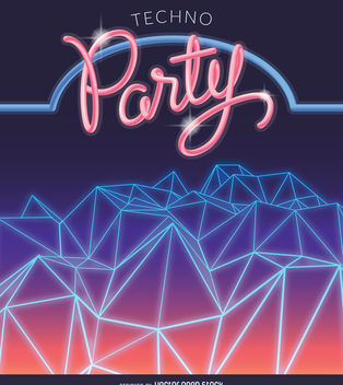 Synth wave party poster - Free vector #376605
