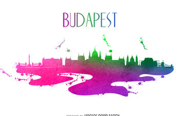 Budapest watercolor skyline - vector gratuit #376645