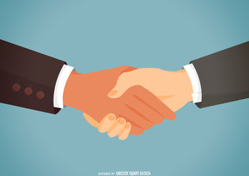 Partner handshake flat illustration - vector gratuit #376665