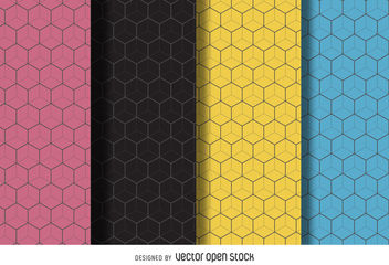 Linear hexagon pattern background set - vector gratuit #376675
