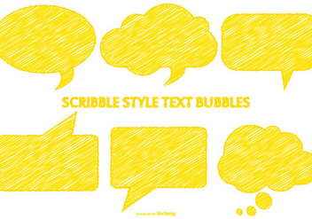 Scribble Style Yellow Speech Bubbles - Free vector #376815