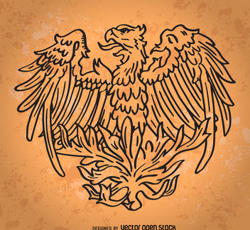 Hand drawn phoenix bird - vector gratuit #376905