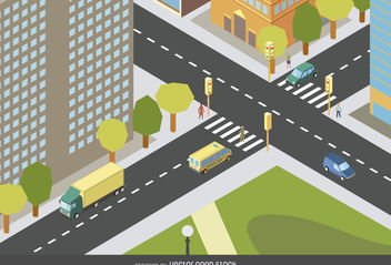 Isometric city design - vector gratuit #377045