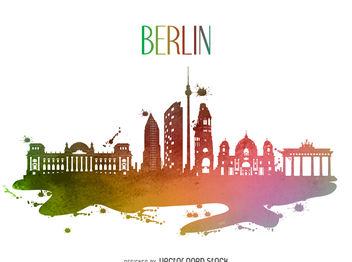 Berlin watercolor skyline silhouette - бесплатный vector #377065