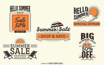Hipster summer sale labels - vector gratuit #377105