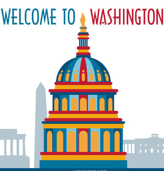 Washington illustration postcard - бесплатный vector #377115