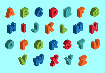 Free Colorful Isometric Alphabet Vectors - Free vector #377155
