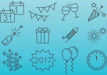 New Year Celebration Icons - Free vector #377365