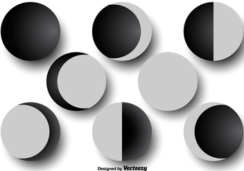 Moon phases icons - Free vector #377405