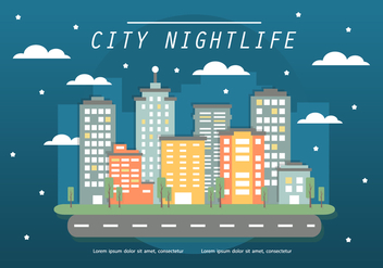 Free Flat Cityscape Vector Illustration - vector gratuit #377535