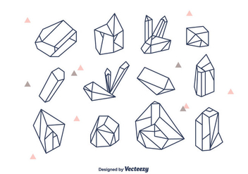 Geometric Crystals Vector Set - vector gratuit #377595
