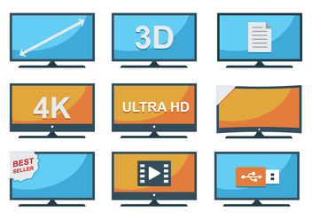 Free LED TV Icons - vector gratuit #377605