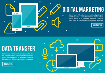 Free Digital Marketing And Data Transfer Vector Background - Free vector #377695