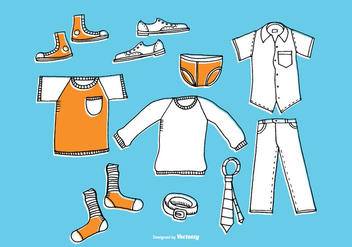 Hand Drawn Men's Clothing Vectors - Free vector #377725