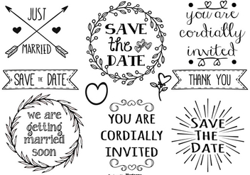 Cute Hand Drawn Style Marriage Labels - vector #377925 gratis