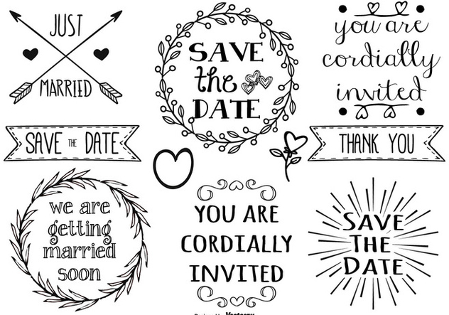Cute Hand Drawn Style Marriage Labels - Free vector #377925