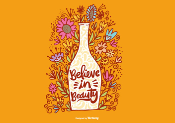 Believe in Beauty Flower Vase Vector - Free vector #378055