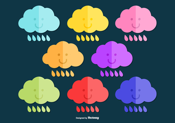 Colorful Rain Cloud Vectors - Kostenloses vector #378225
