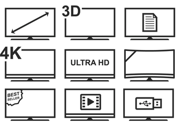 Free LED TV Icon Set - vector gratuit #378585