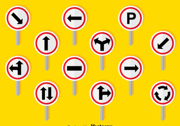 Road Signs Set Vector - vector #378615 gratis