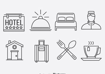 Hotel Outline Icons Vector - vector gratuit #378635