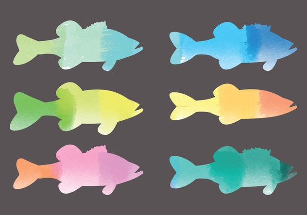 Vector Watercolor Fishes - Free vector #378725