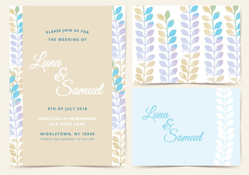 Vector Pastel Wedding Invite - vector gratuit #378745