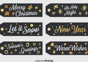 Set Of 6 Black Christmas Labels - Free vector #378965