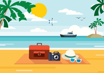 Free Summer Beach Vector Illustration - Free vector #379015